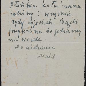 List niezidentyfikowanego Dawida z Płońska do krewnych w getcie warszawskim o deportacji z getta