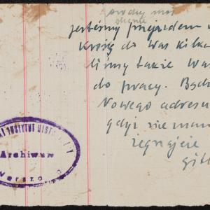 List niezidentyfikowanej Gitly z Płońska do rodziny w getcie warszawskim o deportacji z getta