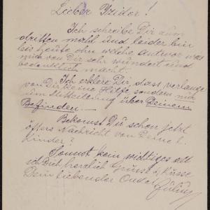 List Juliusa Gernera do Izydora Gernera w getcie warszawskim z prośbą o wiadomość o rodzinie