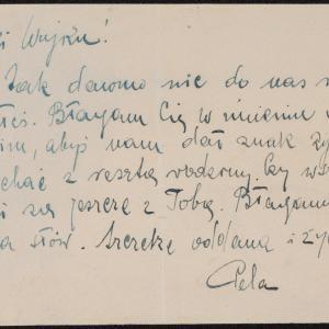 List niezidentyfikowanej Peli do J.J. Głowińskiego w getcie warszawskim z prośbą o wiadomości o losie rodziny