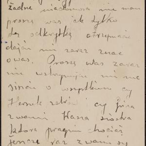 List niezidentyfikowanej Feli do brata Jankiela Goltsztejna w getcie warszawskim z prośbą o wiadomości o rodzinie