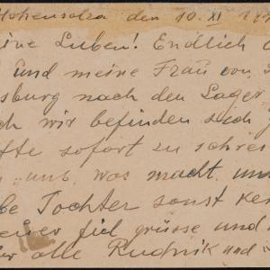 List więźnia obozu pracy przymusowej S. Rudnika do A. Finkielsteina w getcie warszawskim z prośbą o wiadomość o córce