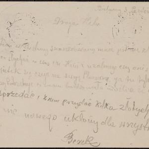 List Berka Engela do M. Engel w getcie warszawskim z prośbą o wiadomość o losie najbliższych