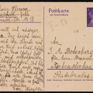 List Marii Ulinower (Łódź - getto, Rembrandtstrasse 13) do Sary Brawelman (Częstochowa, ul. Katedralna 9, u I. M. Rotenberg)