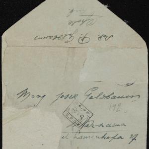 Listy Mojsze Goldbauma (Opole Lubelskie) do Josela (Joska) Goldbauma (Warszawa, ul. Zamenhofa 27)