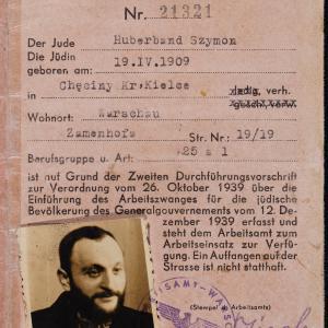 Karta meldunkowa Szymona Huberbanda ze zdjęciem; listy Rywki Popower do Kałmana Huberbanda