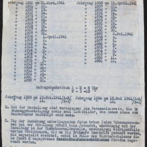 Zarządzenie władz niemieckich dot. pracy przymusowej oraz raport o obozach pracy dla Żydów na terenie GG