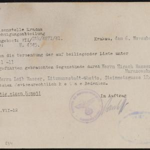 Zezwolenia na przesłanie rzeczy dla Leiba Wassera i Szmula Elbirta wystawione przez Urząd Dewizowy w Krakowie
