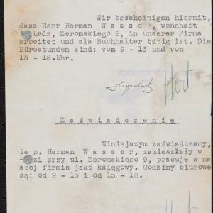 Zaświadczenie o zatrudnieniu Hermana Wassera w charakterze księgowego