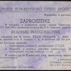 """Zaproszenie na akademię inauguracyjną akcji """"Pomocy Zimowej"""" w lokalu ŻTOS, ul. Tłomackie 5, dla Hirsza Wassera"""