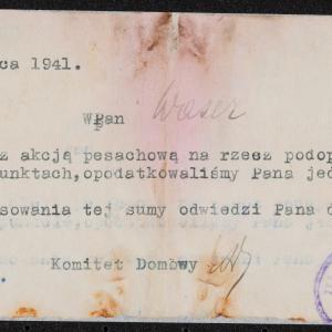 Zawiadomienie z 20.03.1941 r. o opodatkowaniu sumą 10 zł Hersza Wasera na rzecz ubogich i uchodźców z okazji święta Pesach