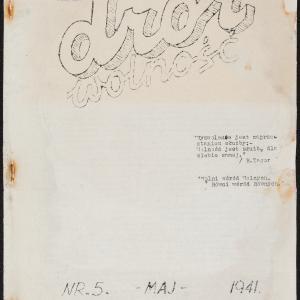 """""""Dror-Wolność"""", konspiracyjny pismo młodzieżowej organizacji syjonistycznej Dror"""