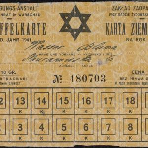 Karta ziemniaczana na rok 1941 nr 180703 wystawiona dla Blumy Wasser (ul. Muranowska 6)