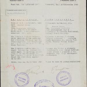 Dokumenty związane z zatrudnieniem Hersza Wassera