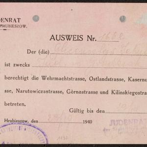 Legitymacja nr 1662 z 23.10.1940 r. dla Jehudy Glincensztejna z Grodziska