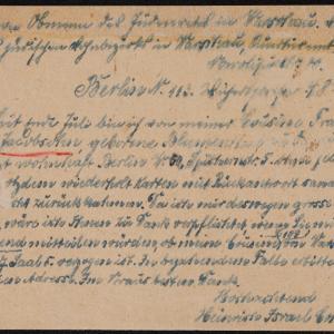 List Heinricha Israela Cohna do Rady Żydowskiej w getcie warszawskim z prośbą o aktualny adres Berthy Sary Jacobson